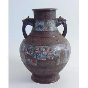 Ânfora em bronze e esmalte cloisonne ornamentada por imagens Egípcias - 33 cm alt, 23 cm diâm. China Sec XIX.