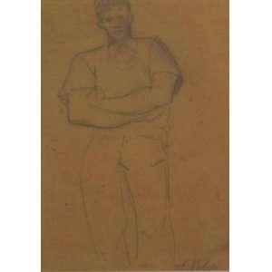 VOLPI - Figura masculina - lápis sobre cartão - acid - 25x17 cm