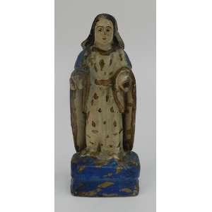 Escultura em madeira lavrada e policromada, representando Nossa Senhora. Peça medindo 18 cm de altura x 8 cm de largura x 4 cm de profundidade. Brasil séc. XIX.