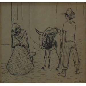 Goeldi, Oswaldo - composição - Nanquim sobre papel / Cid - 1941 - 21 x 27 cm - Etiqueta da Dan Galeria no verso.