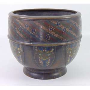 Belo cachepô em bronze com esmalte Cloisonee - 30 cm alt, 35 cm diâm. China Sec XIX.
