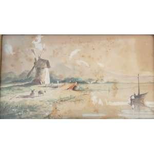 Joseph Cohen de Vries - Atribuído ,Paisagem Holandesa , guache sobre papel, C/I/E. Artista da escola Holandesa especialista em cenas de interior e paisagens. 15 x 26 cm.