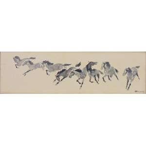 TAKAOKA - Cavalos - nanquim , 15 x 49 cm.