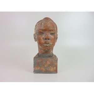 Ottone Zorlini -Cabeça , escultura em terracota , patinada 32 cm de alt. Brasil Séc XX.
