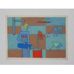 Dionízio Del Santo - Dat. 1983 - Guache sobre papel - Não emoldurado - 20 x 27 cm.