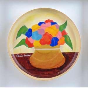Aldemir Martins - Vaso acrilico sobre caixa de pizza - CIE - 38 cm diâm