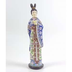 Dignitária em cloisonee e marfim - 29 cm alt. China Sec XX.