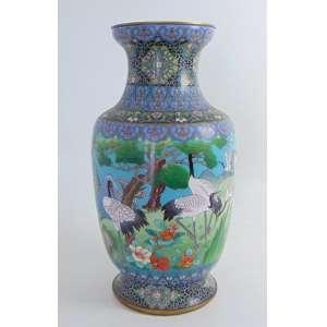 Vaso em bronze Cloisonee - 52 cm alt, 24 cm diâm.