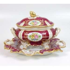 Sopeira de porcelana esmaltada decoração Velho Paris - com Presentoir - 20 cm alt, 33 x 24 cm alt.