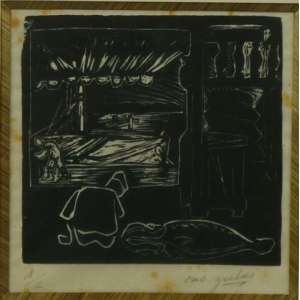 OSWALDO GOELDI - Pescador - Xilogravura - CID - tiragem 1/2 - 17 x 17 cm.