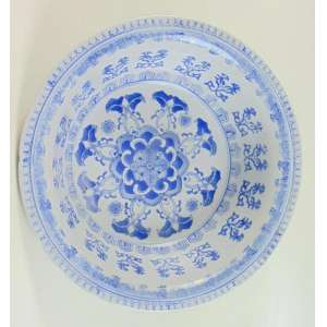 Bowl de porcelana - Blue And White - 9 cm alt, 32 cm diâm.