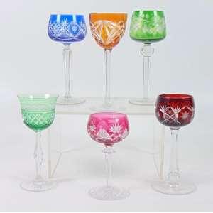 Coleção de copos multicoloridos Baccarat e Bohemia - composto por 6 peças - tamanhos variados