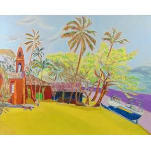 FERNANDO CORREIA - Praia da armação Ilha Bela Setembro 2004 - OST - Assinado no verso - 80 x 100 cm.