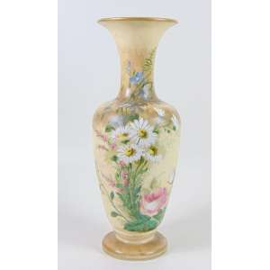 Grande vaso de Opalina finamente esmaltada ,datada ao fundo. Europa Sec XIX. - 49 cm alt, 18 cm diâm.
