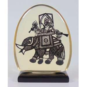 ABRAHAM PALATINIK - Escultura em Resina de Poliéster - Rarissima escultura na figura de Marajá indiano - Peça catalogada - 16 x 13 cm.