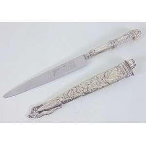 Punhal prata de lei ornamentado - 25 cm compr, bainha 19 cm compr.