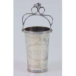 Guampa de prata de lei regional repuxada e cinzelada , monogramada V.F.X.S.Me datada de 1855 , Brasil Sec XIX. - 11 cm alt.