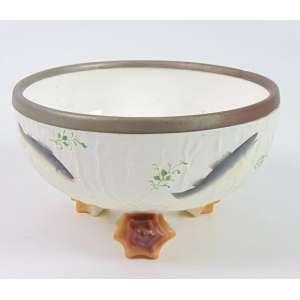 Saladeira de porcelana esmaltada e armação em manufatura WMF. Alemanha Sec XIXXX - 12 cm alt, 20 cm diâm.