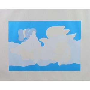 MILTON DACOSTA - Gravura - CID - 59/100 - Papel com manchas - papel solto da moldura - 50 x 64 cm.