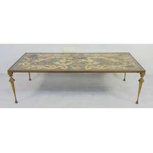 Raro Tampo de mesa em ardósia marchetada e policromada -Firenze Itália Sec XVIIXVIII - 33 cm alt, 116 compr, 56 cm prof.(no estado)