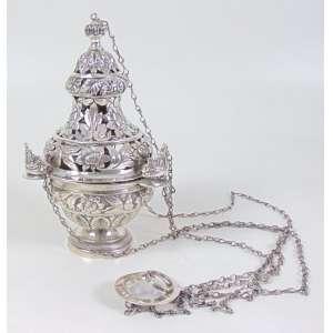 Turibúlo com corrente, prata de Lei - Portuguesa (10 dinheiro) - 23 cm alt, 14 cm diâm.