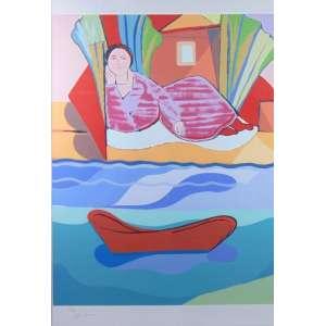 Cícero Dias - Fig. Feminina e Barco - Serigrafia 24/200 - ass. cie - 100x70 cm