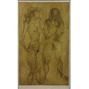 FLÁVIO DE CARVALHO - Duas Mulheres - Gravura em metal - CID - 1972 - 50 x 30 cm.