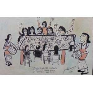 JOSÉ ANTONIO DA SILVA - Almoço em família - Guache e Nanquim sobre papel - Ass. Dat. 1967 - 31,5 x 48,5 cm.