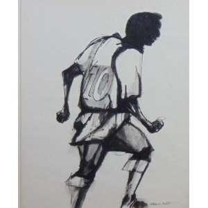 Aldemir Martins - Pelé - nanquim s/ papel - ass. cid - 52x42 cm - certificado do próprio artista.
