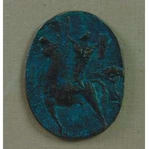 FRANCISCO STOCKINGER - Guerreiro - Placa em bronze - Ass. no verso - 1975 - 12 cm.