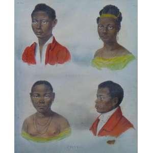 RUGENDAS - Figuras - Litografia Aquarelada - 34 x 28 cm.