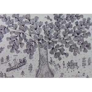 ZICA BERGAMI - Debaixo da Árvore - Nanquim s/papel - CID - 1996 - 35 x 48 cm