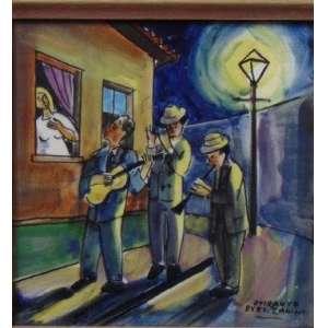 MARIO ZANINI - Serenata - Pintura sobre azulejo Osirarte - Ass. CID - 15 x 15 cm.
