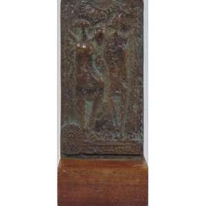 Francisco Stockinger - Placa em bronze com 2 figuras - assinada - 20 cm alt, com a base de madeira (4 cm) - edição comemorativa do Banco Cidade de São Paulo.