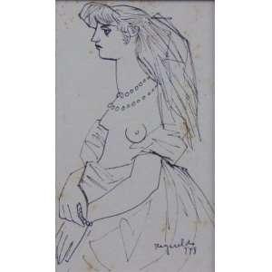 Reynaldo Fonseca - Fig. Feminina - nanquim s/ papel - ass.cid - 1948 - 15x9 cm - apresenta pequenas manchas amareladas.