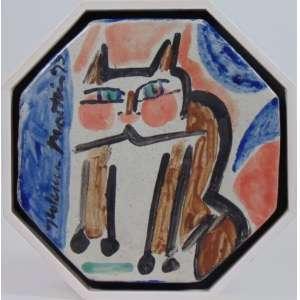 Aldemir Martins - Gato - Pintura em Cerâmica Esmaltada - ass. lateral esquerda - 1993 - 25x25 cm - certificado do próprio artista.