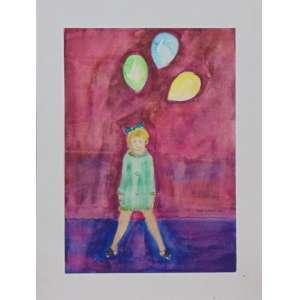 Dudu Santos - Menina com balões - Téc. mista s/ papel - ass. cid - 1968 - 35x25 cm - não emoldurada.