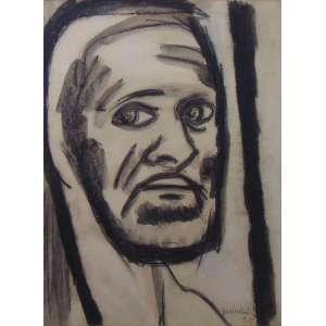 Bonadei - Auto retrato - aguada de nanquim s/ papel - ass. cid - 1950 - 37x27 cm.