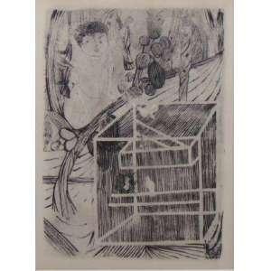CANDIDO PORTINARI - Gaiola 1 - Gravura a água forte - 1959 - Registrado sob número 4632 (FCO 822) Vol. 4 pág. 452 do Catálogo Raisonee de Cândido Portinari - 30 x 22 cm - certificado emitido pelo Projeto Portinari.