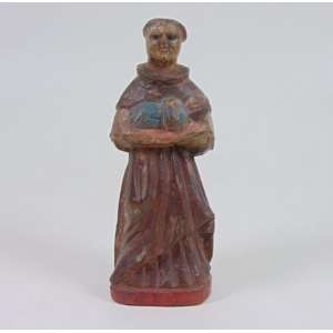 M. Milza - Arte Popular - São Benedito - madeira entalhada e policromada - 19 cm alt.