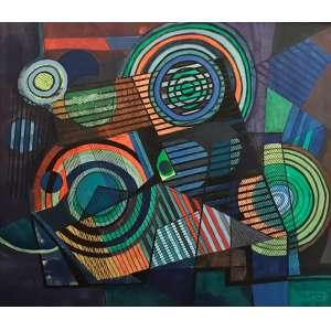 Burle Marx - S/T - Panneaux - pintura s/ tecido - ass. cid - 1990 - 140x160 cm - obra adquirida na Marques Galeria em 1991.