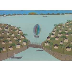 SANTOS - Arte Popular - Represa com barcos, casas e balão - OST/CIE - 50 x 70 cm - não emoldurado.