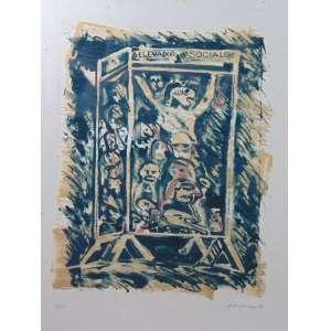 Rubens Gerchman - Elevador social - litografia - 18/20 - ass. cid - 1974 -53x40 cm - pequenos pontas amarelados no passpatur da gravura.