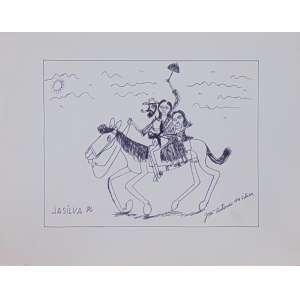 José Antonio da Silva - Família Cavalgando - nanquim s/ papel - ass. cie - 1986 - 26x35 cm.