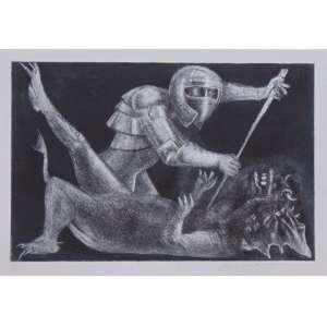 Marcelo Grassmann - O Guerreiro e o Dragão - gravura em metal - VI/X - ass. cid - 38x58 cm - não emoldurada.