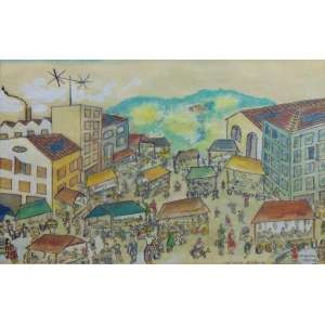 Manoel Martins - Feira - Aquarela s/ papel - ass. cid - 1955 - 30 x 47 cm.
