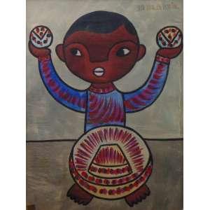 José Maria de Servin - Fig. com bolas - Guache - ass. csd - 50x37 cm.