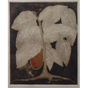 Anna Letycia - gravura em metal - 7/15 - ass. cid - 1958 - 30x25 cm - vidro trincado no cie.
