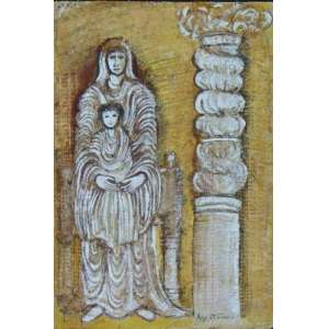 Agi Straus - Madona - Óleo s/ papel artesanal - ass. cid - 45x30 cm - não emoldurado.