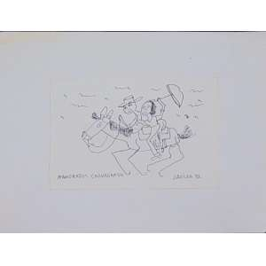 José Antonio da Silva - Namorados Cavargando - nanquim s/ papel - ass. cid -. 1992 - 16x25 cm - não emoldurado.